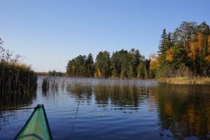 Our Minnesota lake and the nose of my kayak