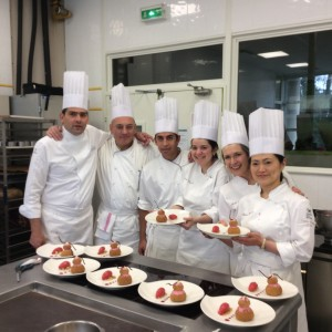 I was chef (head of the team) for the day we made the framboise religeuse.  Here we are, David is the tall one.  I'm taller than Hiromi.