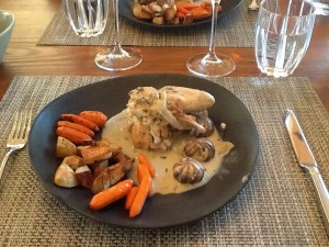 chicken fricassee, turned carrots and fancy little mushrooms