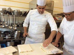 Chef David with the nougat  He quit smoking 8 years ago, but still chews on swizzle sticks.