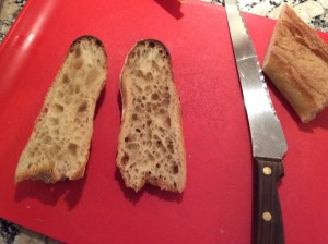 "The baguette's ""crumb"" - the inside pockets - two mornings later when I used it for toast."