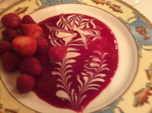 My dessert - strawberries & raspberries, raspberry coulis with