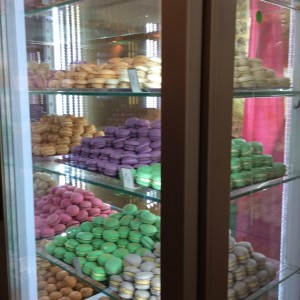 the macaron case.  I got one espresso, one vanilla, and one pistachio.