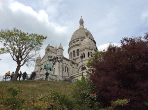 The basilica of Sacre Coeur on this high spot of Paris, the hill of Montmartre.