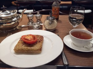 My Fortnum & Mason lunch - Darjeeling and Welsh Rarebit.  Lovely heart-shaped tomato, eh?