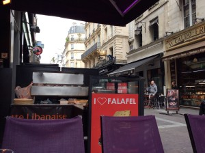 Slightly grubby, but friendly Les Halles felafel place.  Great people walking by.