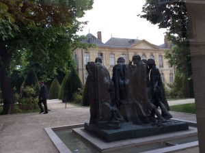 Rodin's Burghers of Calais in the garden of the Paris Rodin museum.