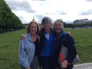 Mary Satt, Ellen and me.  Napoleon's tomb and the Dome des Invalides behind us.