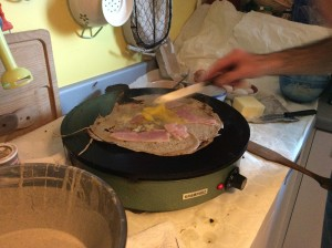"Making a crepe (a ""galette,"" the Breton name, made entirely with buckwheat."